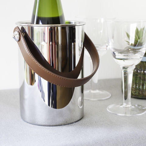 Stylish,Wine,Cooler,wine, cooler, holder, chiller, stainless, steel, with, leather, handle, wedding, gift, anniversary, retirement, christmas, birthday