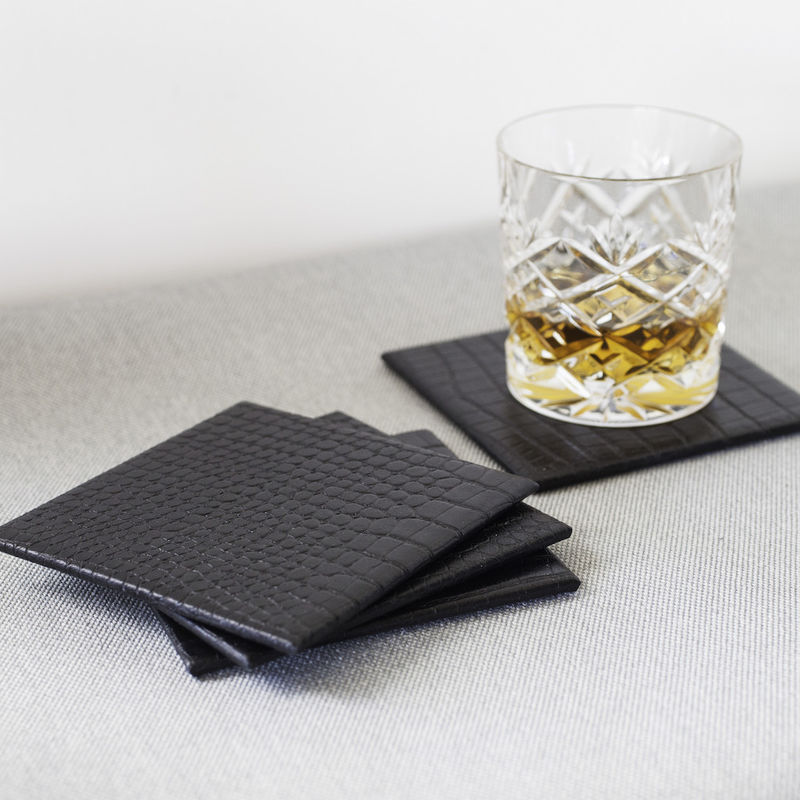 Black Leather Drink Mat Set - product images  of