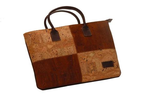 Cork,and,Leather,Patchwork,Handbag,womens, cork, brown, leather, handbag, tote, bag, ladies, gift, eco, friendly, square
