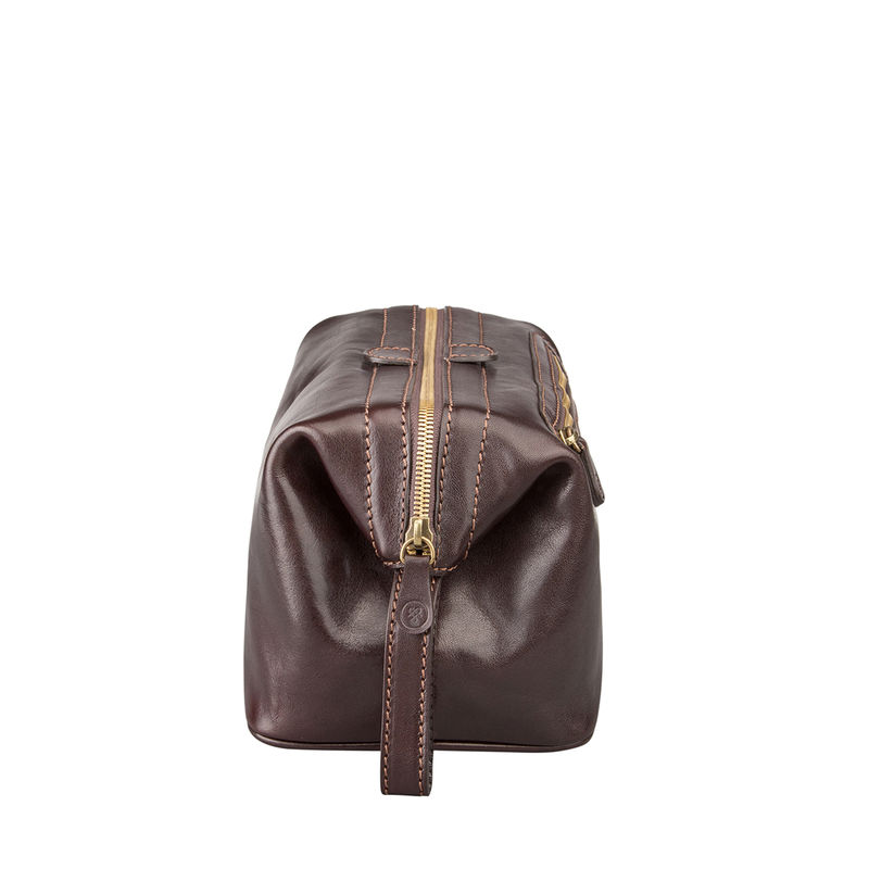 Mens Brown Leather Washbag - product images  of