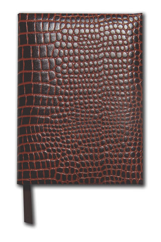 Brown,Grained,Leather,Medium,Notebook,brown, black, croc, grained, leather, notebook, note, book, journal