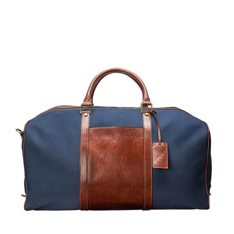Mens,Canvas,and,Leather,Travel,Holdall,mens, canvas, blue, leather, holdall, travel, bag