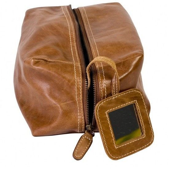 Tan Rugged Leather Wash Bag - product image