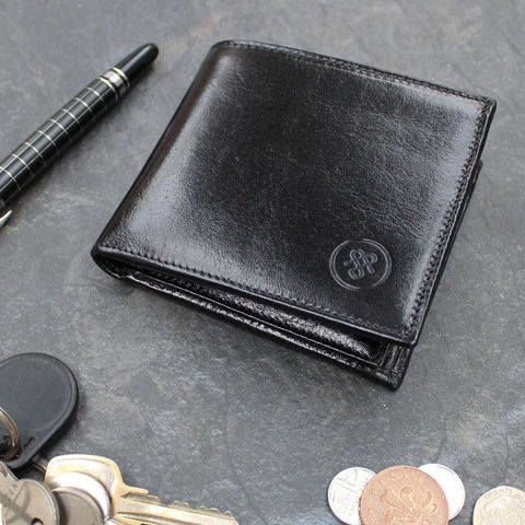 Mens,Leather,Billfold,Wallet,black, mens, italian, leather, wallet, billfold, personalised