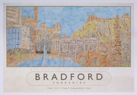 'City,Park',Map,Art,Poster,Born in Bradford,Travel poster,Bradford souvenirs,Bradford poster,Grace E Wood,City Park poster,Paperbird,Paperbird Arts,Map Art, Railway poster