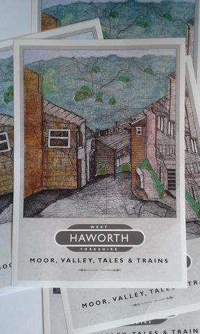 'Haworth',Map,Art,Poster,Travel poster, railway poster,Paperbird,Bradford souvenirs,Haworth,Charlotte Bronte,Bronte,Wuthering Heights,map art,Paperbird Arts, Map Art