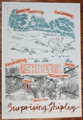 Shipley,Poster, travel poster, Risograph