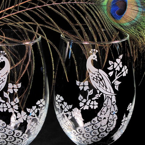 Stemless,Wine,Glasses,,Peacock,Decor,,Wedding,stemless wine glasses, stemless glasses, peacock wedding, wedding glasses, peacock decor, peacock decoration,etched_glass,peacock etched wine glasses, peacock decorations, bradgoodell, Brad Goodell, etched glass peacoc