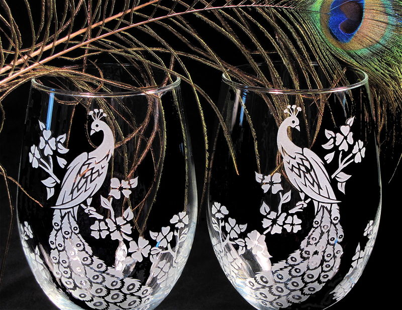 Stemless Wine Glasses, Peacock Decor, Peacock Wedding - product images  of