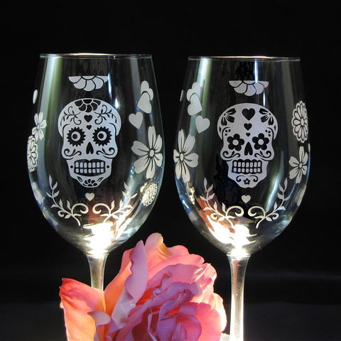 Day,of,the,Dead,Wine,Glasses,,Dia,De,Los,Muertos,Skull,Decor,for,Weddings,dia de los muertos wedding glasses, personalized, Wedding Decor, Etched glass, wine glasses, Day of the Dead, Dia de Muertos Wine Glasses, Halloween, sugar skull wedding glasses, Calavera, wedding