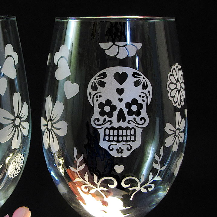 Day of the Dead Wine Glasses, Dia De Los Muertos Wine Glasses, Skull Decor for Weddings - product image