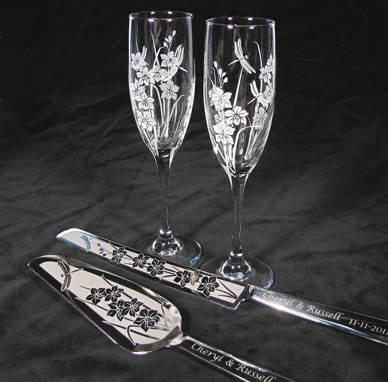 Orchid and Dragonfly Wedding Set, Champagne Glasses, Cake Server and Knife, Personalized - product image