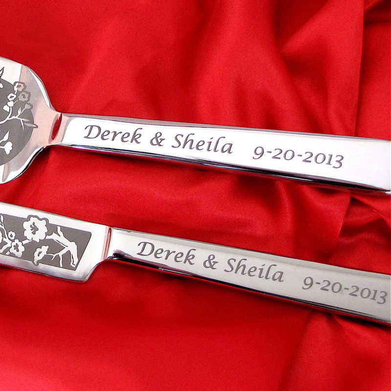 Personalized Wedding Cake Server and Knife Set with Roses - product image