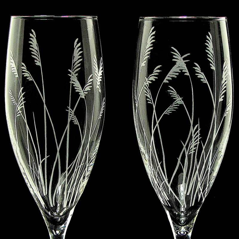 Pampas Grass Champagne Glasses, Rustic Wedding Toasting Flutes - product image