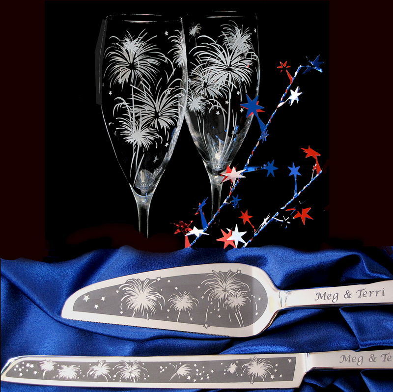 4th of July Wedding, Personalized Cake Server and Champagne Flute Set, Fireworks Wedding - product image