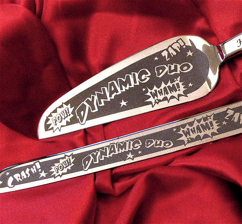 Superhero,Themed,Wedding,Cake,Server,and,Knife,Set,,Comic,Book,superhero themed wedding, super hero, comic book themed wedding, gay wedding, geek wedding, wedding cake server set, personalized, wedding cake server & knife, bradgoodell, Brad Goodell, The Wedding Gallery
