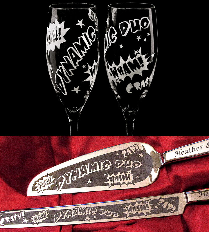 Superhero Wedding Set,  Personalized Champagne Flutes, Cake Server, Knife - product images  of