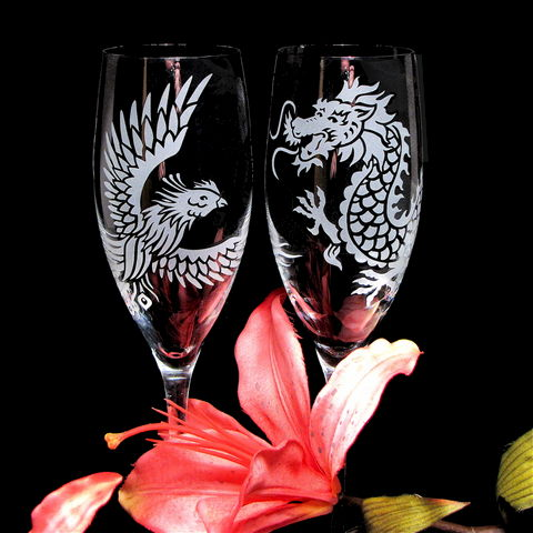 Dragon,and,Phoenix,Wedding,Champagne,Flutes,,Chinese,Symbol,for,Marriage,Harmony,,Toast,Glasses,Weddings,engraved,glasses,Champagne_flutes,toasting_flutes,champagne_glasses,Engraved_wedding, dragon and phoenix, chinese wedding, wedding toast glasses, wedding glasses, asian wedding, brad goodell, bradgoodell, the wedding gallery