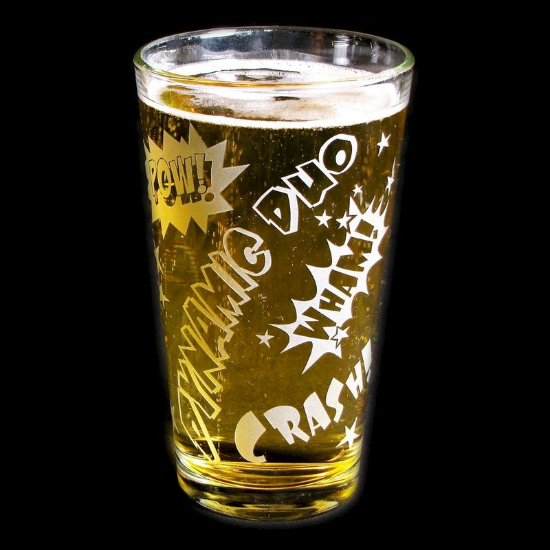 Superhero Beer Glass, Comic Book Style Groomsmen Gifts - product image