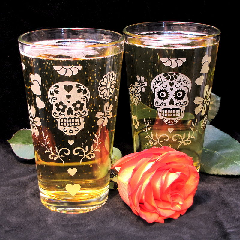 2 Sets of Sugar Skull Pint Glasses & Shot Glasses, Groomsmen Gifts - product image