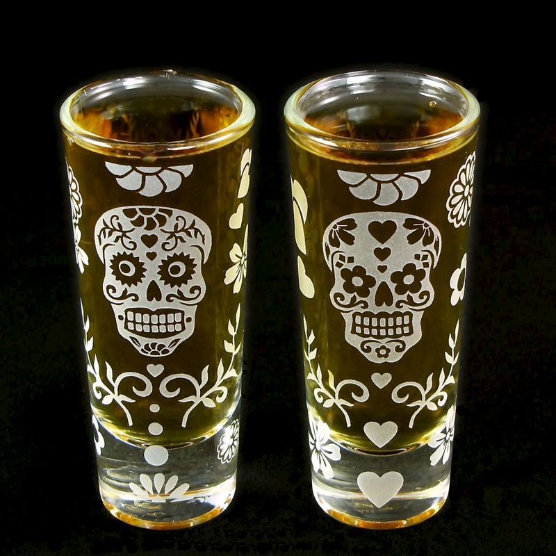 Day of the Dead Beer Flute, Shot Glass Set, Calavera Wedding - product image