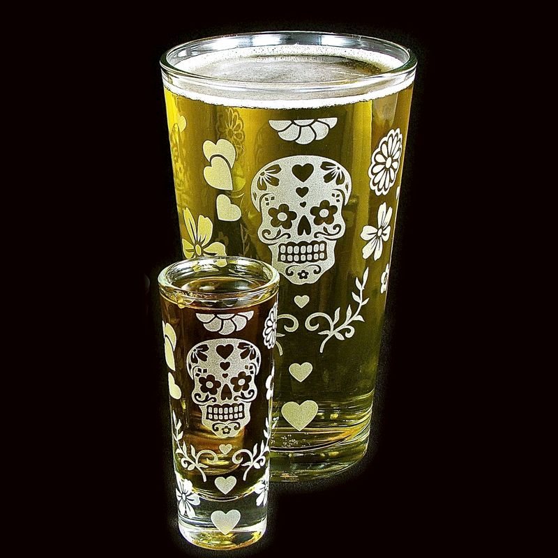 Sugar Skull Pint Glass / Shot Glass, Day of the Dead, personalization available - product images  of