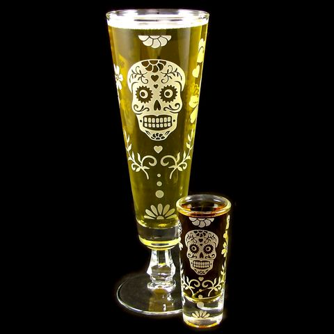 Dia,De,Los,Muertos,Beer,Flute,,Shot,Glass,Gift,Set,,Calavera,Sugar,Skulls,shot glasses, sugar skull, pilsner flutes, beer flutes, fluted pilsner, day of the dead wedding, dia de los muertos wedding, beer glass, personalized wedding glass, skull wedding