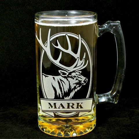 Personalized,Elk,Beer,Stein,,Etched,Glass,,Gift,for,Groom,,Groomsmen,personalized gifts, Personalized Beer stein, beer mug, elk, etched glass, gift for groomsmen, groomsmen gift, beer glass