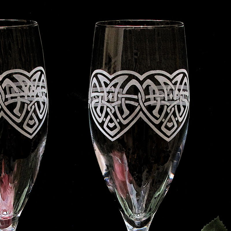 Celtic Wedding Cake Server and Champagne Flutes, Celtic Knot Heart for Irish, Celtic Weddings - product images  of