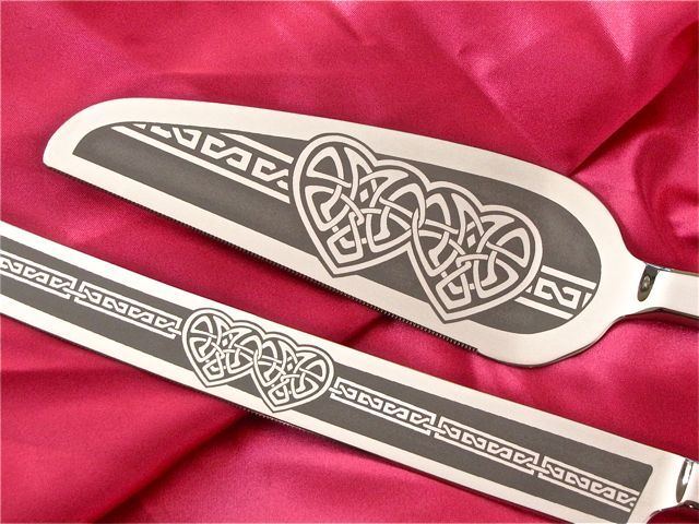 Celtic Wedding Cake Server and Champagne Flutes, Celtic Knot Heart for Irish, Celtic Weddings - product image