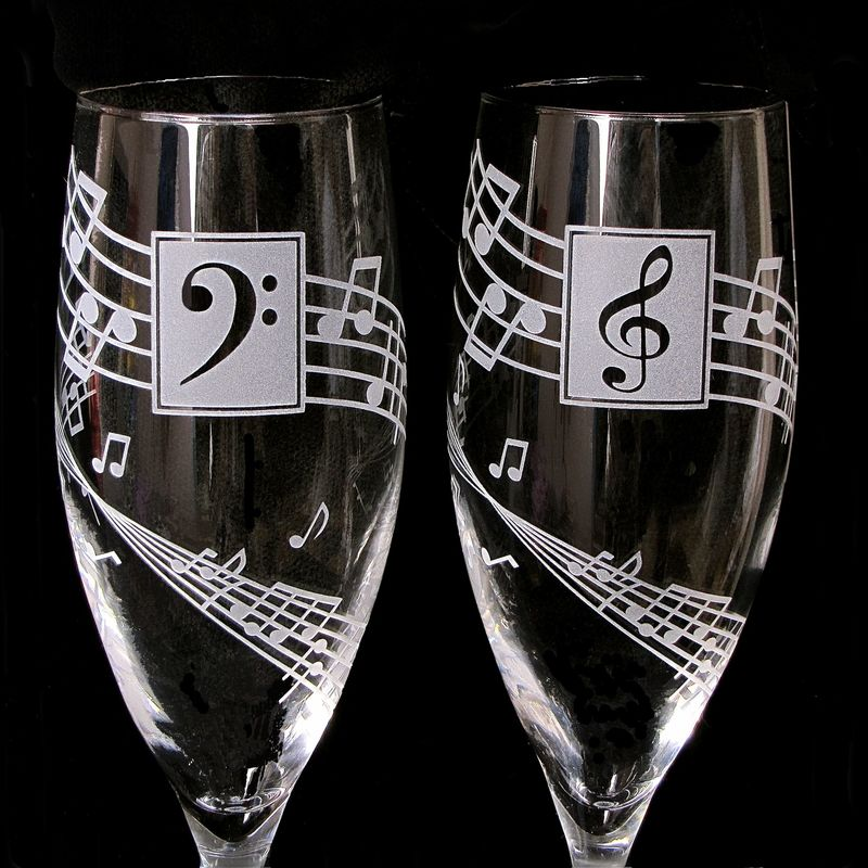 Musical Wedding Toasting Glasses, Concert or Music Lovers Wedding - product images  of