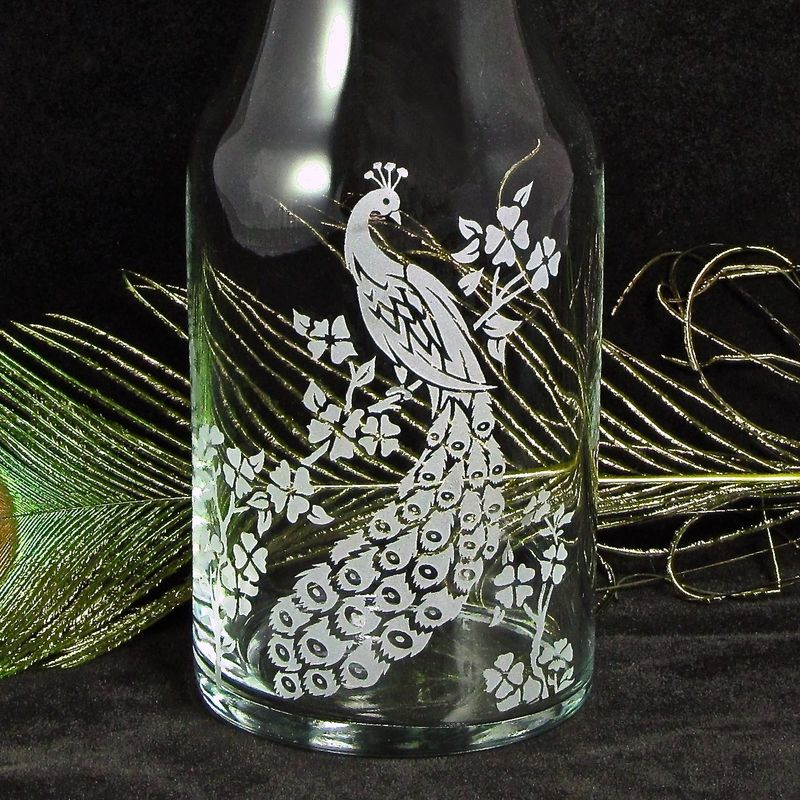 Peacock Wine Carafe, Vase for Decor or Unity Ceremony for Weddings - product images  of
