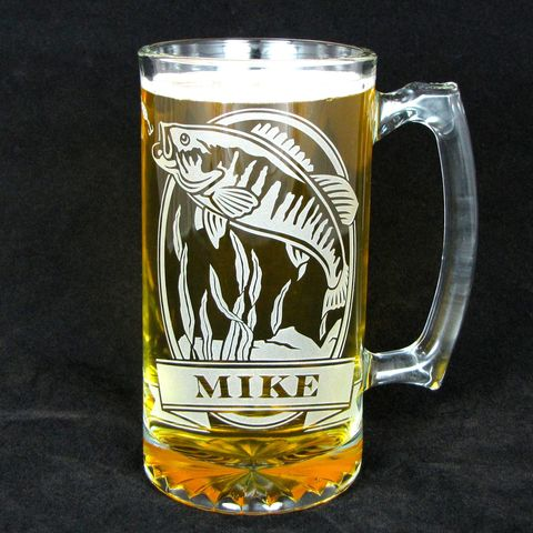 1,Personalized,Fish,Beer,Stein,,Etched,Glass,Smallmouth,Bass,personalized gifts, Personalized Beer stein, beer mug, deer, fish, smallmouth bass, etched glass, gift for groomsmen, groomsmen gift, beer glass