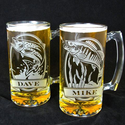 2,Personalized,Fish,Beer,Steins,,Etched,Glass,Trout,and,Bass,,Gift,for,Anglers,/,Fisherman,personalized gifts, Personalized Beer stein, beer mug, catfish, trout, fish, smallmouth bass, etched glass, gift for groomsmen, groomsmen gift, beer glass