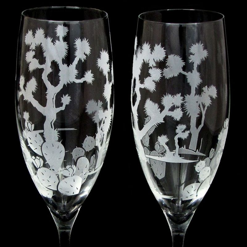 2 Joshua Tree Wedding Champagne Glasses, Personalized Toasting Flutes, Desert Wedding - product image