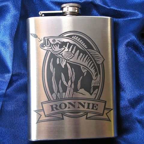 Personalized,Hip,Flask,with,Bass,,Engraved,Gift,for,Man,,Groomsman,or,Angler,Personalized Hip Flask with Bass, Trout, Bluegill, Catfish, Engraved Gift for Man, Gift for Groomsman or Angler