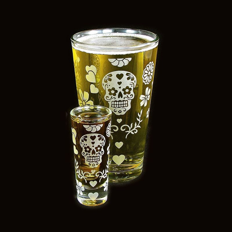 Halloween Beer Glass Shot Glass Set, Dia De Muertos Drinking Set - product images  of