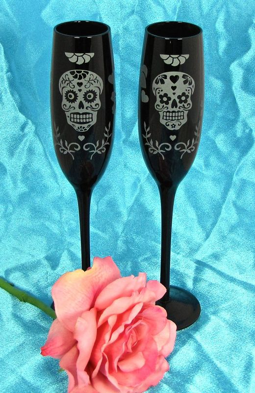 2 Black Day of the Dead Champagne Glasses, Personalized Suger Skull Wedding Decor, Calavera - product images  of