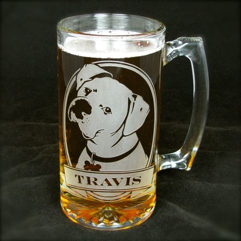 1,Personalized,Boxer,Beer,Mug,,Etched,Glass,Stein,with,Dog,personalized gifts, Personalized Beer stein, beer mug, etched glass, gift for groomsmen, groomsmen gift, beer glass, boxer dog