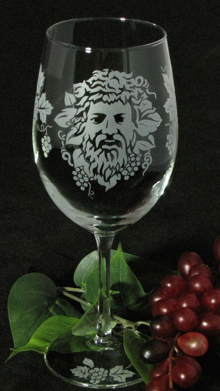2 Dionysus Wine Glasses, Wine Lovers Gift with Greek God, Winery Wedding Gift - product images  of