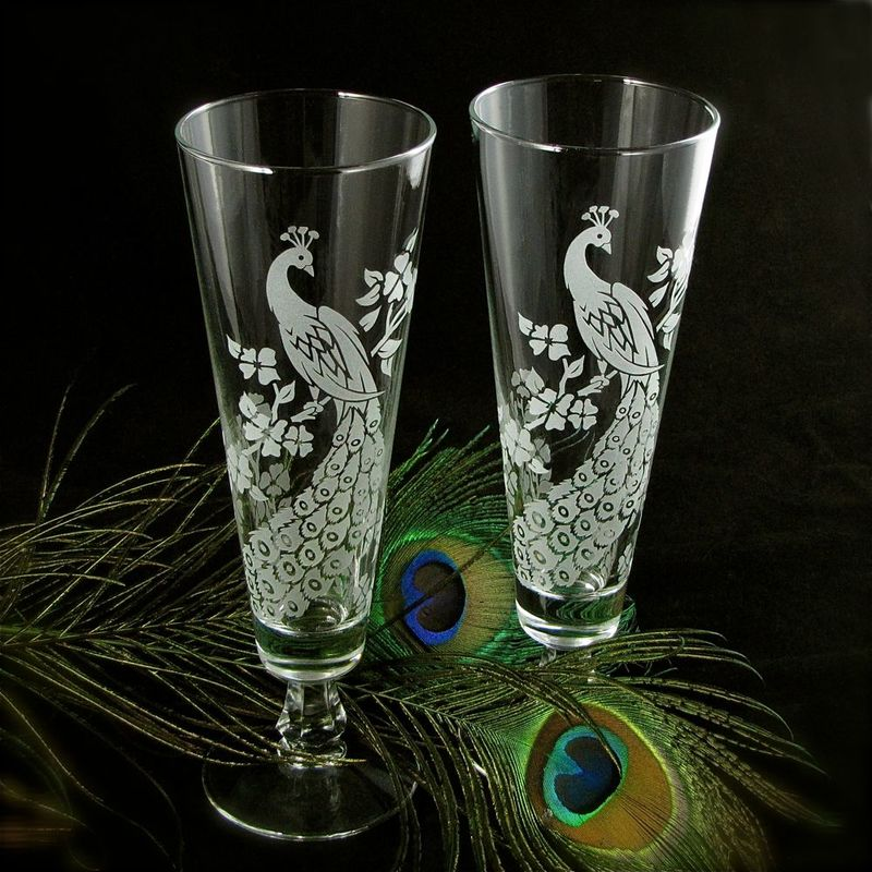 Peacock Wedding Decor, Personalized Toasting Flutes, Etched Glass Fluted Pilsners - product images  of