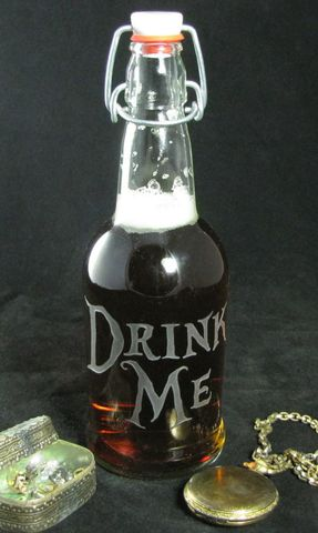 Drink,Me,Water,Bottle,,Etched,Glass,Reusable,Beer,Alice,in,Wonderland,Drink Me Water Bottle, Etched Glass Reusable Beer Bottle, Alice in Wonderland