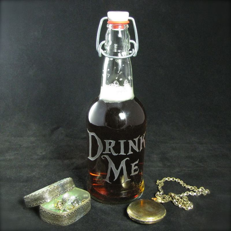 Drink Me Water Bottle, Etched Glass Reusable Beer Bottle, Alice in Wonderland - product image