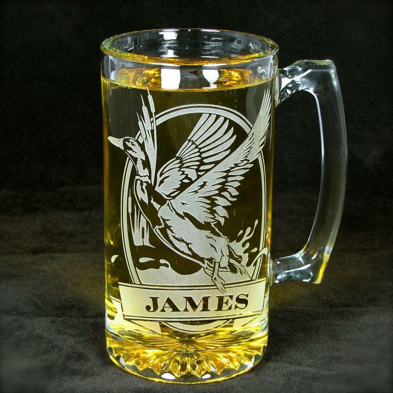 Top 1 Personalized Mallard Beer Stein, Etched Glass Duck Mug for Bird  UT54