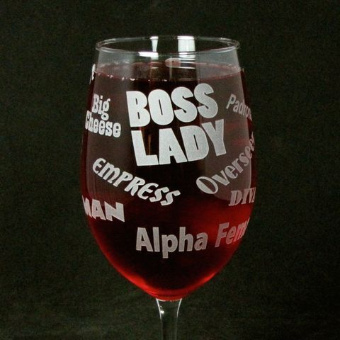 Boss,Lady,Wine,Glass,,Gift,for,Woman,,Boss,,Wife,or,Mom,Wine glass,  etched glass,  engraved gift, gift for boss, gift for woman, mom, wife, boss lady, personalized