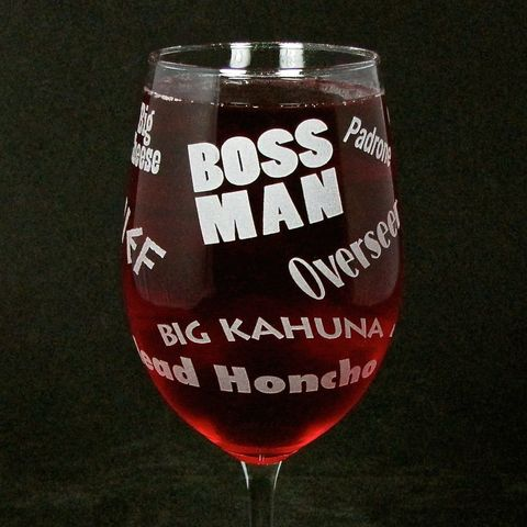 Boss,Man,Wine,Glass,,Gift,for,Man,,Boss,,Husband,,or,Dad,Father's,Day,Wine glass,  etched glass,  engraved gift, gift for boss, gift for man, dad, father, husband, boss man, personalized