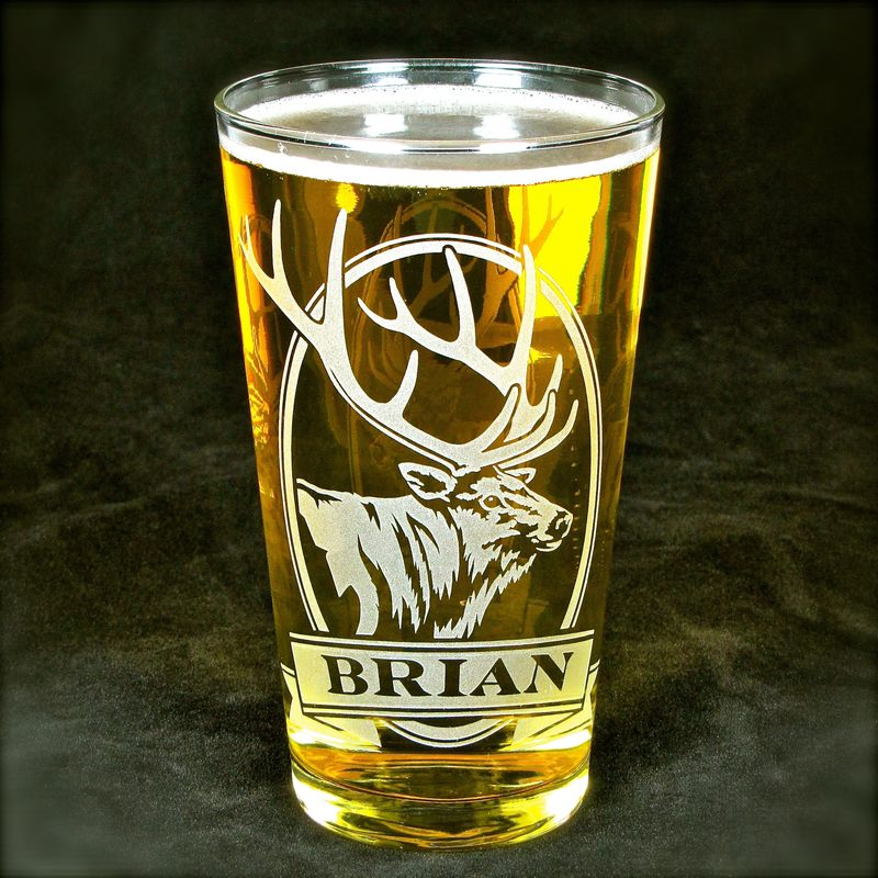 1 Personalized Moose Beer Glass, Etched Glass Pint Glass Gift for Man - product images  of