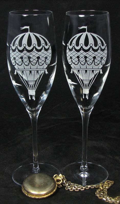 Hot Air Balloon Champagne Flutes, Wedding Gift for Bride and Groom - product images  of