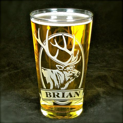 1,Personalized,Elk,Beer,Glass,,Etched,Glass,Pint,Gift,for,Man,Deer, elk, moose, beer glass, personalized, pint glass, etched glass, engraved gift, gift for man, gift for husband, boyfriend, father, dad
