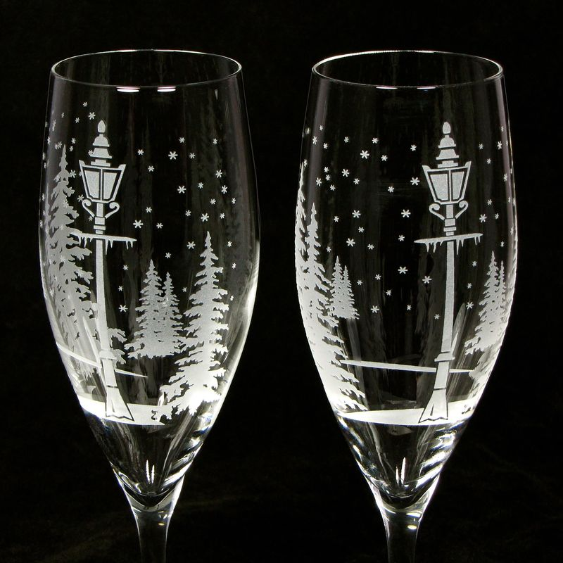 NEW Winter Wedding Champagne Flutes, Personalized Wedding Gift for Couple - product images  of